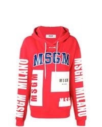 roter bedruckter Pullover mit einer Kapuze von MSGM