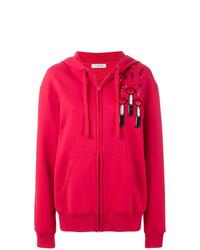 roter bedruckter Pullover mit einer Kapuze von Valentino