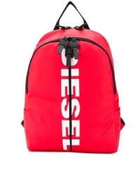 roter bedruckter Segeltuch Rucksack von Diesel