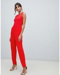 roter bestickter Jumpsuit von French Connection