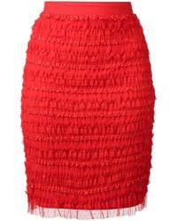 roter Bleistiftrock mit Rüschen von Givenchy