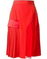 roter Midirock aus Seide mit Falten von Givenchy