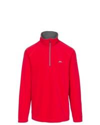 roter Fleece-Pullover mit einem Reißverschluss am Kragen von Trespass