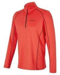 roter Fleece-Pullover mit einem Reißverschluss am Kragen von Ziener