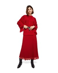 roter Pullover mit einem Rundhalsausschnitt mit Fransen von Mango