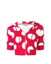 roter gepunkteter Pullover mit einer Kapuze von Moschino