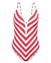 roter horizontal gestreifter Badeanzug von Tommy Hilfiger