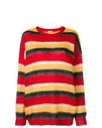 roter horizontal gestreifter Oversize Pullover von Miu Miu