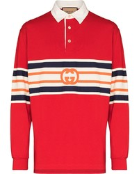 roter horizontal gestreifter Polo Pullover von Gucci