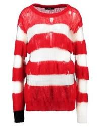 roter horizontal gestreifter Pullover mit einem Rundhalsausschnitt von Diesel