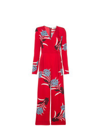roter Jumpsuit mit Blumenmuster