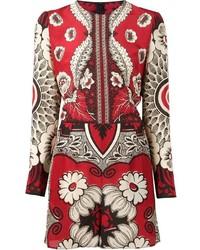 roter kurzer Jumpsuit mit Blumenmuster von Valentino