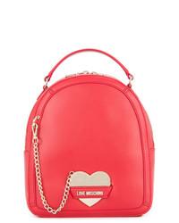 roter Leder Rucksack von Love Moschino