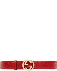 roter Ledergürtel von Gucci