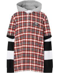 roter Pullover mit einem Kapuze mit Schottenmuster von Burberry