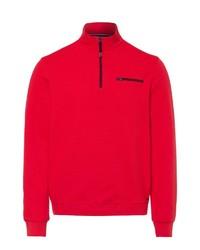 roter Pullover mit einem Reißverschluss am Kragen von Brax