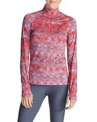 roter Pullover mit einem Reißverschluss am Kragen von Eddie Bauer