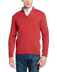 roter Pullover mit einem Reißverschluss am Kragen von Hackett London