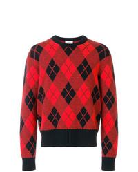 roter Pullover mit einem Rundhalsausschnitt mit Argyle-Muster von AMI Alexandre Mattiussi