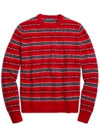 roter Pullover mit einem Rundhalsausschnitt mit Fair Isle-Muster