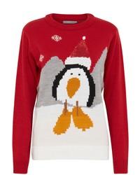 roter Pullover mit einem Rundhalsausschnitt mit Weihnachten Muster von B.young