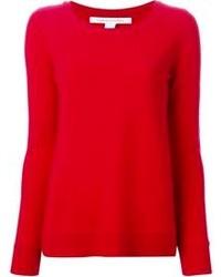 roter Pullover mit einem Rundhalsausschnitt