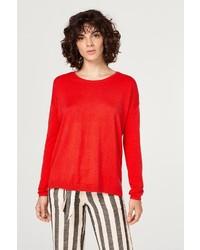 roter Pullover mit einem Rundhalsausschnitt von edc by Esprit