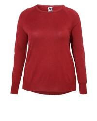 roter Pullover mit einem Rundhalsausschnitt von Frapp