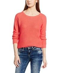 roter Pullover mit einem Rundhalsausschnitt von Only