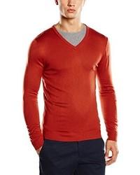 roter Pullover mit einem V-Ausschnitt von Benetton