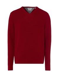 roter Pullover mit einem V-Ausschnitt von Brax