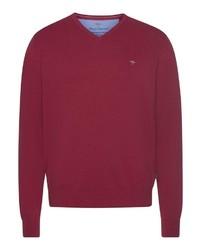 roter Pullover mit einem V-Ausschnitt von Fynch Hatton
