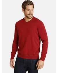 roter Pullover mit einem V-Ausschnitt von Jan Vanderstorm