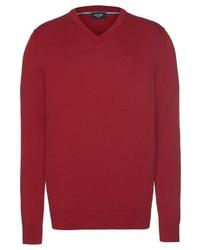 roter Pullover mit einem V-Ausschnitt von Joop Jeans