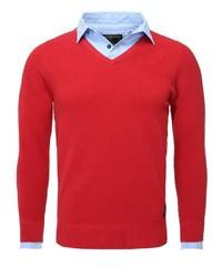 roter Pullover mit einem V-Ausschnitt von Key Largo