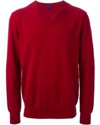 roter Pullover mit einem V-Ausschnitt von Lanvin