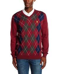 roter Pullover mit einem V-Ausschnitt von Lyle & Scott