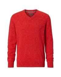 roter Pullover mit einem V-Ausschnitt von Marc O'Polo