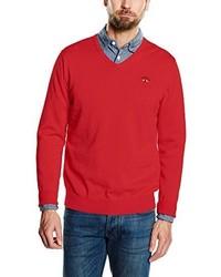 roter Pullover mit einem V-Ausschnitt von Spagnolo