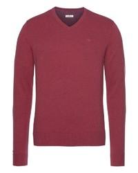 roter Pullover mit einem V-Ausschnitt von Tom Tailor