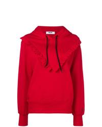 roter Pullover mit einer Kapuze von MSGM