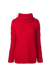 roter Pullover mit einer weiten Rollkragen von Philo-Sofie
