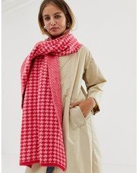 roter Schal mit Hahnentritt-Muster von New Look