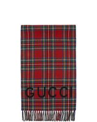roter Schal mit Schottenmuster von Gucci
