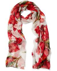 roter Seideschal mit Blumenmuster von Dolce & Gabbana