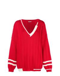roter Strick Oversize Pullover von Miu Miu