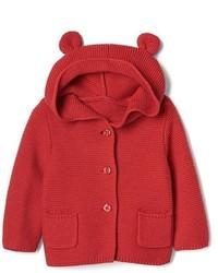 roter Strick Pullover mit einer Kapuze