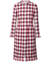 roter Tweed Mantel mit Karomuster von Oscar de la Renta