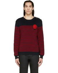 roter und dunkelblauer horizontal gestreifter Pullover mit einem Rundhalsausschnitt von Balmain