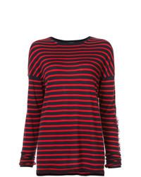 roter und dunkelblauer horizontal gestreifter Pullover mit einem Rundhalsausschnitt von Barrie